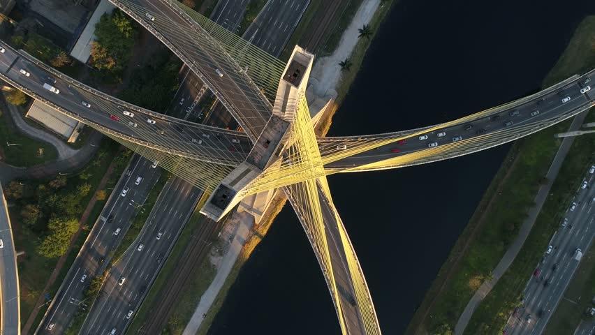 Top View of Estaiada Bridge in Sao Paulo, Brazil #28347856