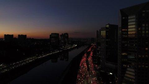 Rush Hour on Marginal Pinheiros in Sao Paulo, Brazil