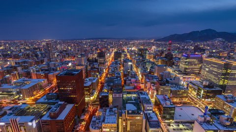 Sapporo, Japan downtown city skyline time lapse.