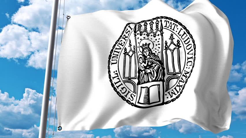 Waving flag with University of Munich emblem. 4K editorial clip   Shutterstock HD Video #28377886