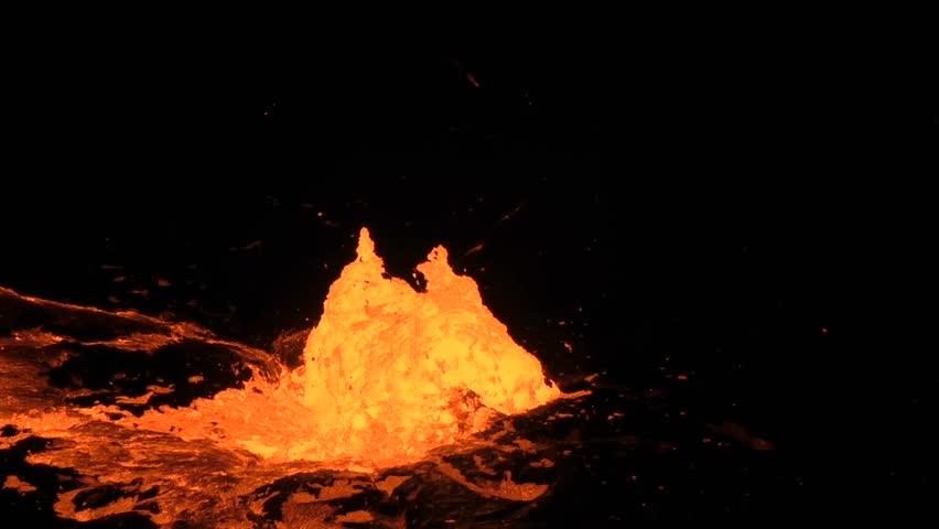 Eruption in the lava lake of the volcano Erta Ale, Ethiopia