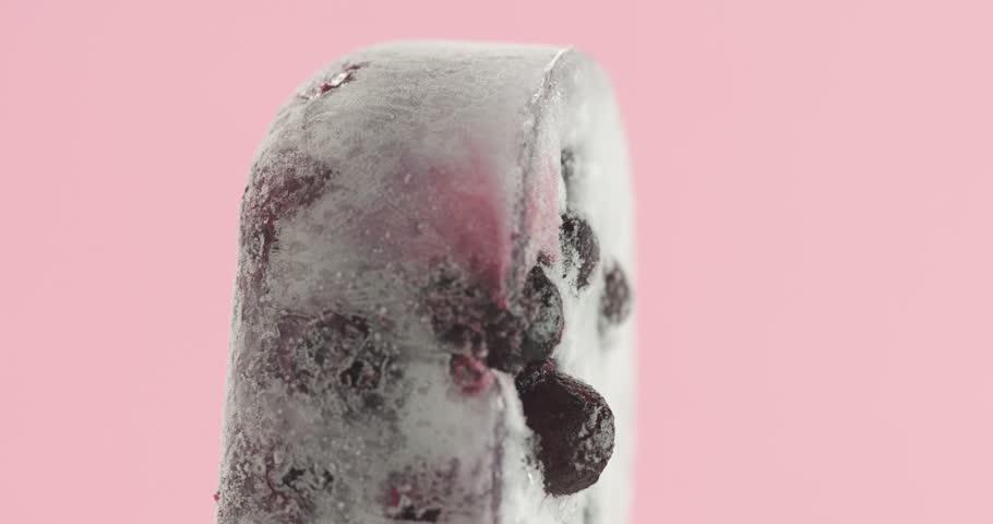 blackberry frozen juise sorbet ice cream in stick closeup