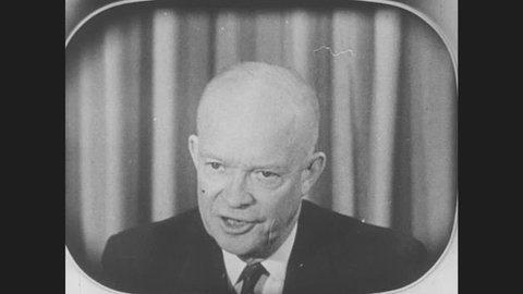 1950s: President Dwight D. Eisenhower speaks on TV. Cuban dictator Fidel Castro speaks. British Prime Minister Harold Macmillan speaks. Pakistani leader Gamal Abdel Nasser Hussein speaks.