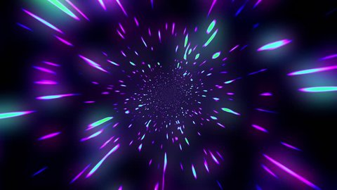 Slow Hyper Warp Neon Stars Rotating Tunnel Disco VJ Motion Background Loop