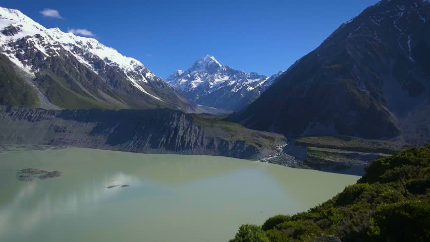 Mt Cook, New Zealand - Aerial view by drone flying over Hooker valley track, in Aoraki Mt Cook National Park.