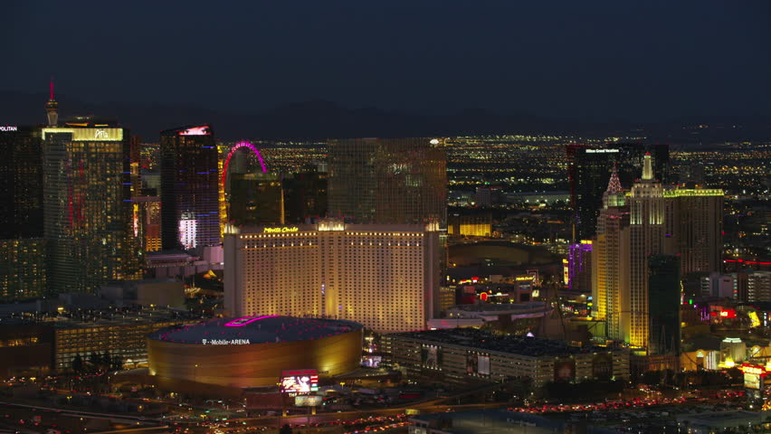Las Vegas, Nevada circa-2017, Aerial view of T Mobile Arena and Las Vegas Strip. Shot with Cineflex and RED Epic-W Helium. | Shutterstock HD Video #28477396