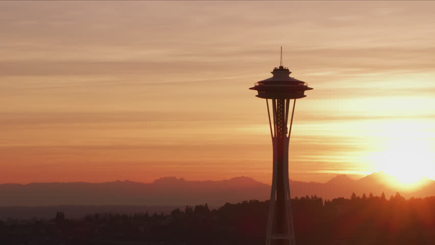 Seattle, Washington circa-2017, Aerial view of Seattle Space Needle at sunrise. Shot with Cineflex and RED Epic-W Helium.
