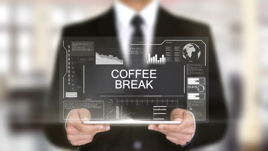 Coffee Break, Hologram Futuristic Interface, Augmented Virtual Reality | Shutterstock HD Video #28483816