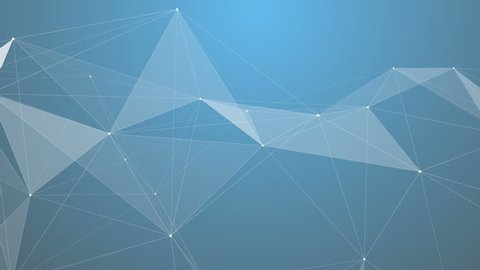 Plexus of abstract lines, triangles and dots. Blue background. Loop animations.