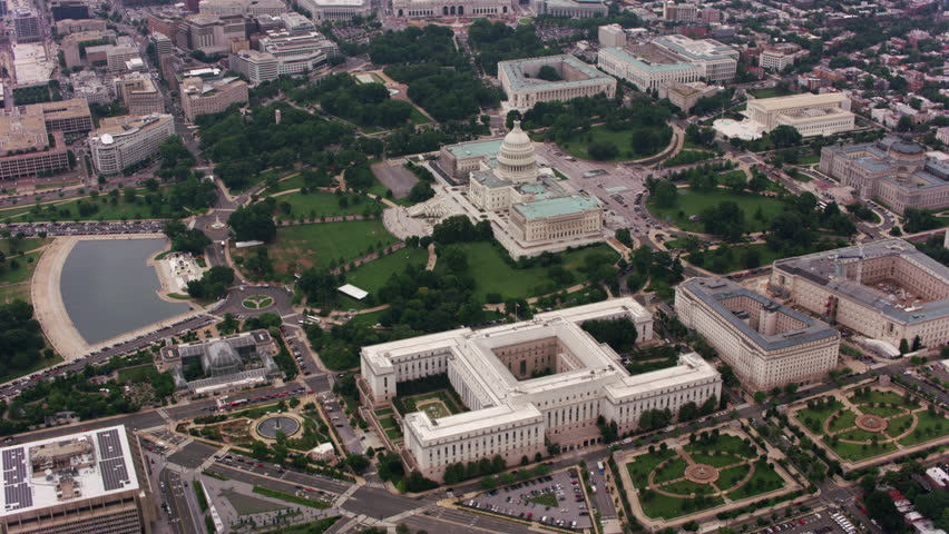 Washington, D.C. circa-2017, High angle aerial view of US Capitol building. Shot with Cineflex and RED Epic-W Helium.