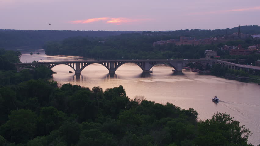 Washington, D.C. circa-2017, Sunset over the Potomac River. Shot with Cineflex and RED Epic-W Helium.