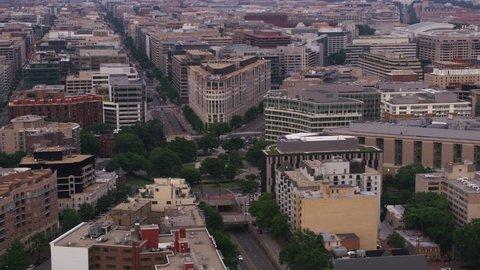 Washington, D.C. circa-2017, Aerial view of Washington Circle with statue of George Washington. Shot with Cineflex and RED Epic-W Helium.
