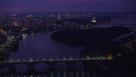 Washington, D.C. circa-2017, Flying over Potomac River with Washington D.C. In distance. Shot with Cineflex and RED Epic-W Helium.