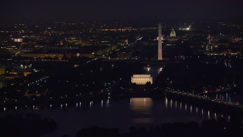 Washington, D.C. circa-2017, Early morning aerial view of the Lincoln Memorial, Washington Monument and Capitol Building at night. Shot with Cineflex and RED Epic-W Helium.
