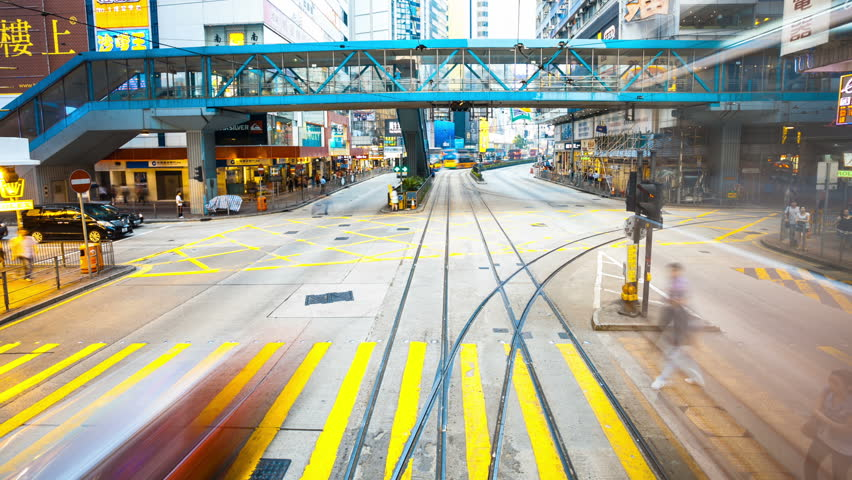 Hongkong,China - August 2th,2012: bus through the streets of Hongkong,time lapse,