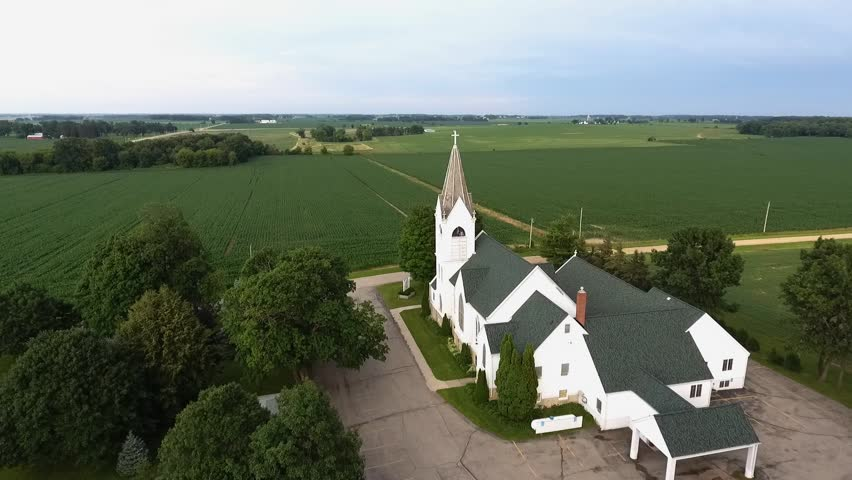 Aerial flyby of an historic old church