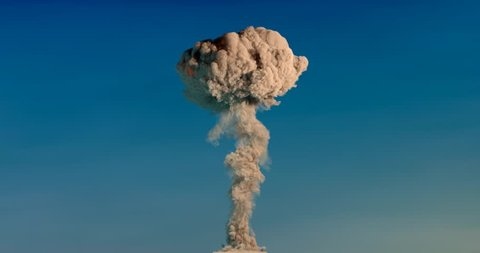 000001 Massive Nuclear Explosion Mushroom Cloud Side View with Alpha