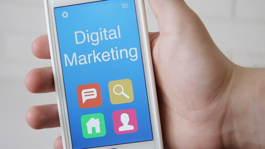 Digital marketing concept application on the smartphone. Man uses mobile app. | Shutterstock HD Video #28565086
