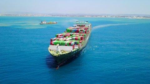 Mega container ship at sea - Aerial footage