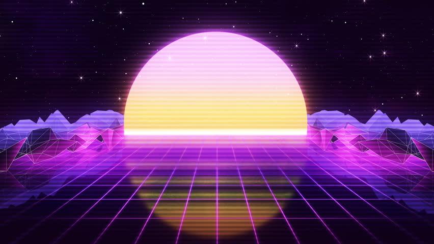80s Retro Futurism Sun Space Background