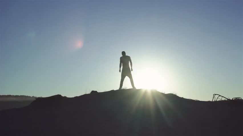 Man`s Silhouette at sunrise | Shutterstock HD Video #28602316