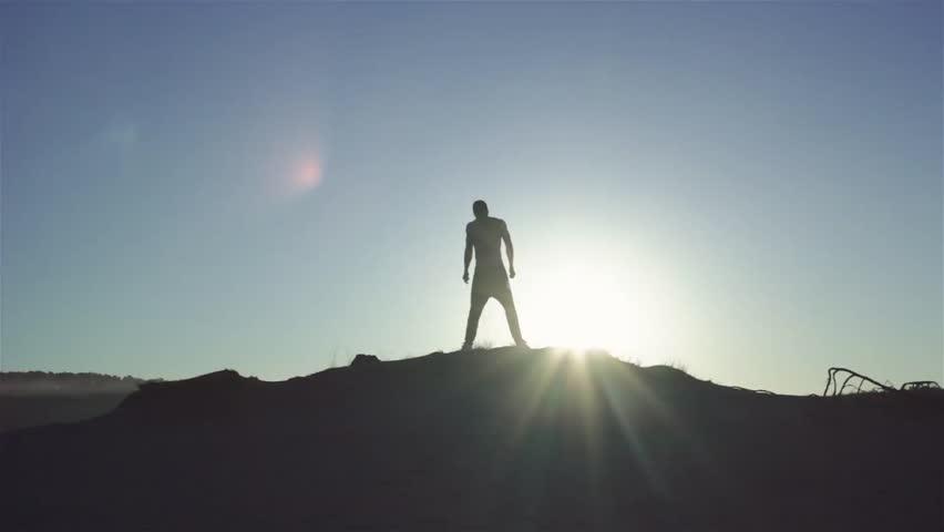 Man`s Silhouette at sunrise #28602316