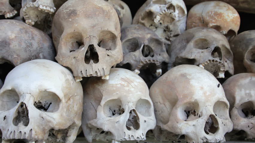 a group of skulls and bones in Killing field