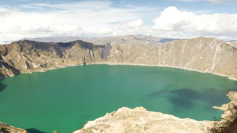 Zoom out time lapse over the Quilotoa crater in Ecuador.The 3 kilometers wide caldera was formed by the collapse of the volcano following a catastrophic eruption about 800 years ago.