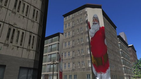 Santa banners unfurl down the side of buildings version1