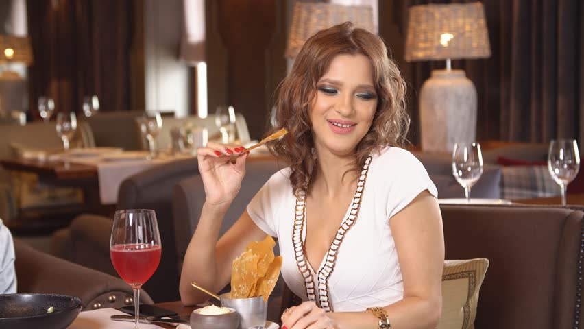 Young Girl In Restaurant Sexy Drinking Wine Stock Footage