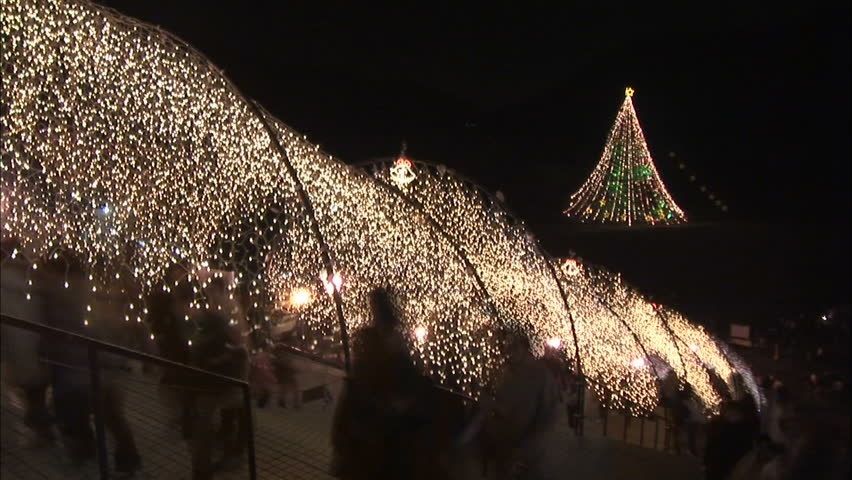 christmas lights in japan hd stock footage clip - Christmas Lights Video