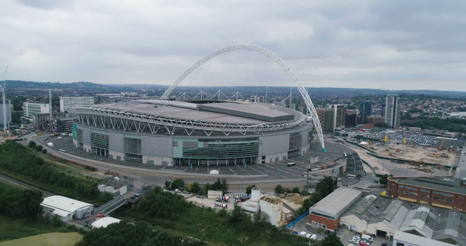 Aerial approaching view of Wembley stadium in North London