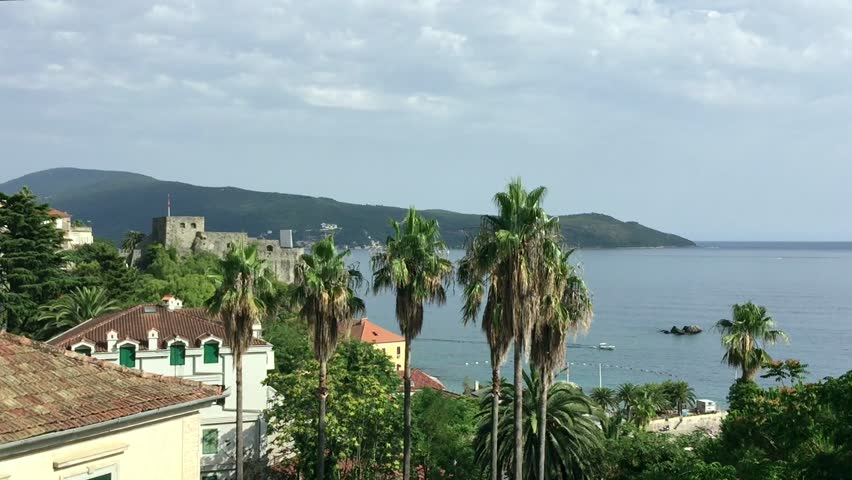 Herceg Novi Montenegro panning view of sea bay sunny day, Beautifull seascape till horizon.