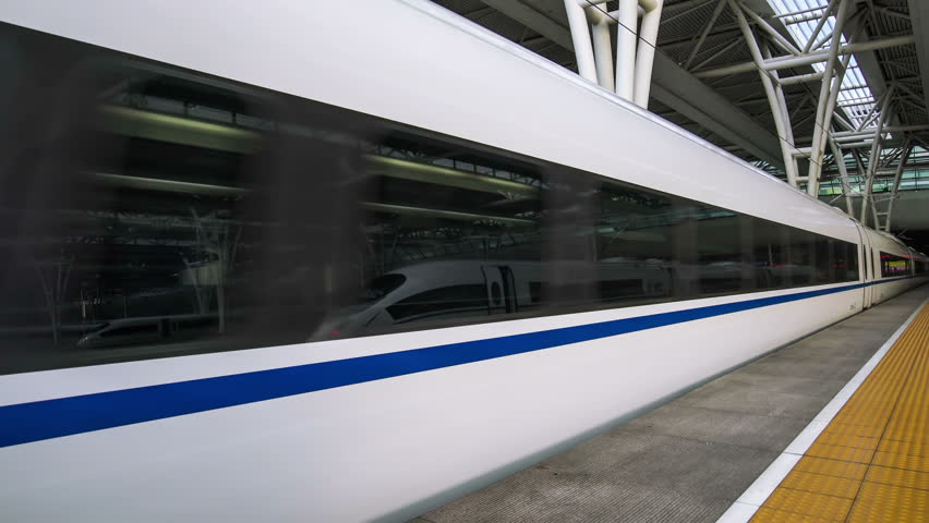 A Chinese Bullet Train leaves Shanghai Hong-qiao Station in Shanghai, China.