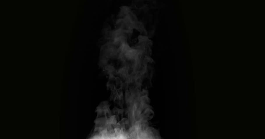 Hot Steam on a Black Background. White Steam rises from a large pot that is behind the scenes. Black background. Filmed at a speed of 120fps #28818016