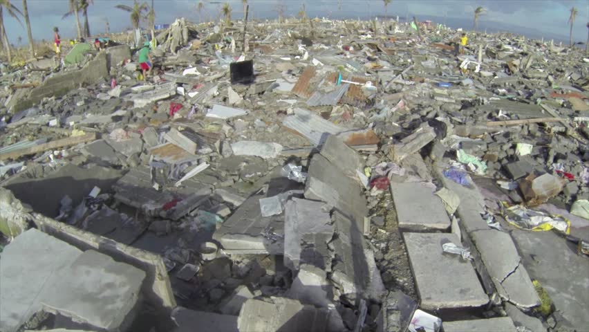 Hurricane typhoon Haiyan aftermath drone at Tacloban | Shutterstock HD Video #28821676