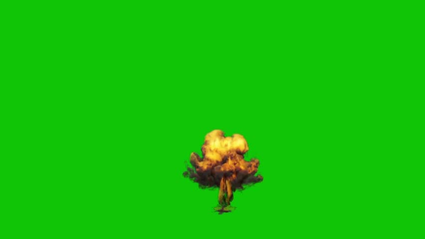 Small Explosion Bomb Green Screen 3D Rendering Animation VFX