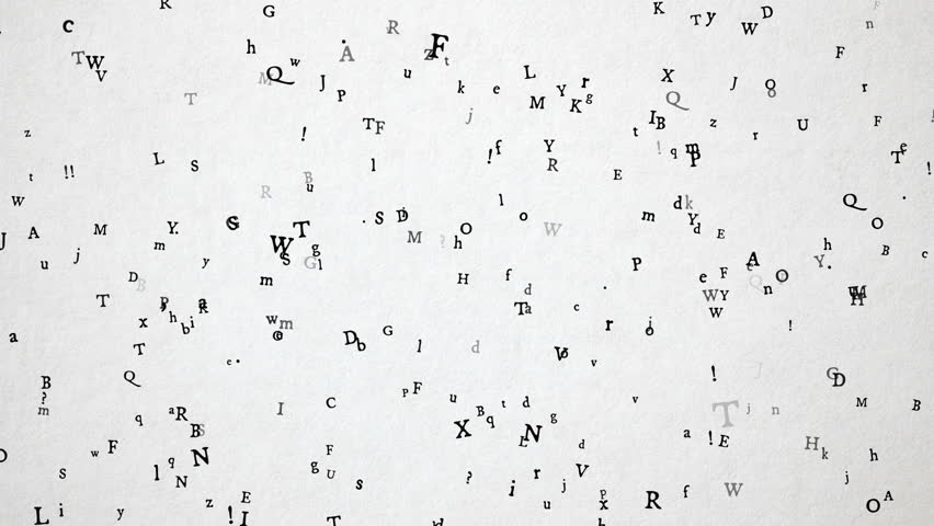 Old style letters / characters flying over old white paper. High quality animation. Great for your book / literature projects.  Seamless loop, 1080p, 30fps