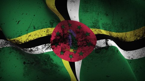 Dominica grunge flag waving seamless loop. Dominica loopable dirty flag with highly detailed fabric texture.