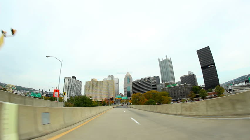 PITTSBURGH, PA - October, 2012: Driving into downtown Pittsburgh, Pennsylvania.  Driver's perspective.  Fisheye lens.  Part 2 of 2 available for one seamless video clip.