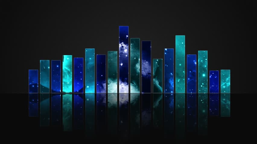 Cosmic Crystal Glass Audio Bars Glowing Version 01 VJ Loop Animated Motion Background Seamless Looping Video Backdrop Blue Cyan