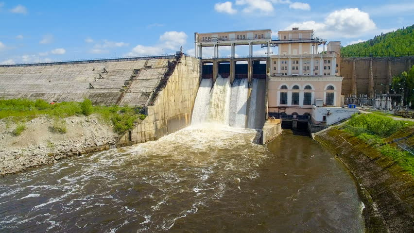 4k video of old hydroelectric power plant with rapid flow of water and bird #28906324