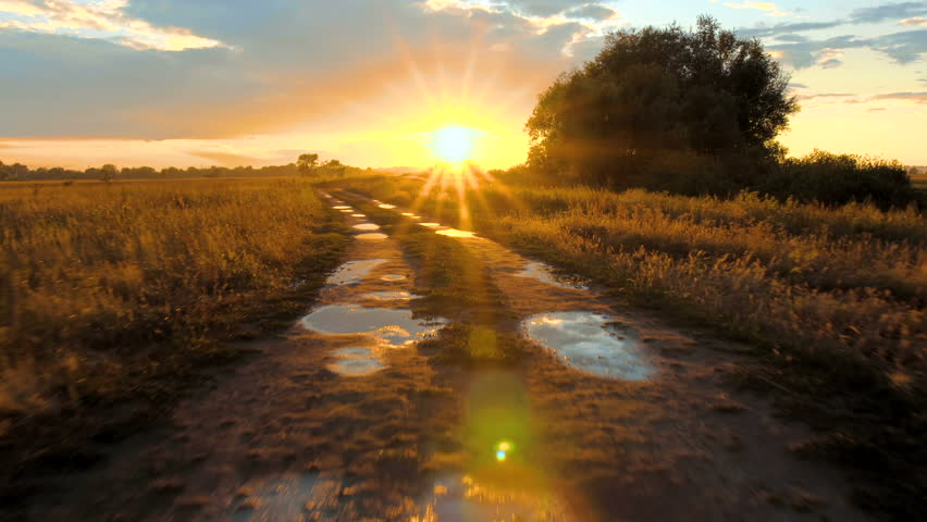 Driving the Country road with Sky and sun reflections in the pools along field | Shutterstock HD Video #28908676