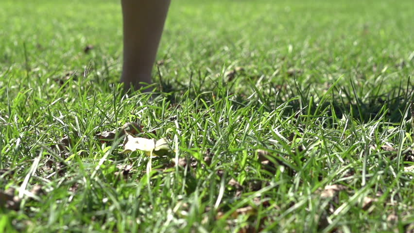 Feet of child in grass running towards camera