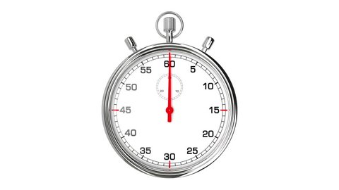 Stopwatch Loop Realtime. Realistic stopwatch animation in seamless loop, realtime speed (full 60 seconds).