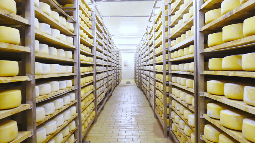 Factory cheese aging storage 4K. Camera on gimbal stabilizer moving through endless shelves of fresh cheese pieces.   Shutterstock HD Video #28935976