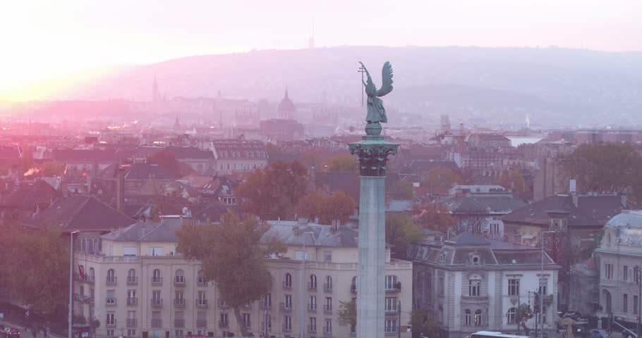 Aerial view of Budapest - Heroes' Square - Sunset | Shutterstock HD Video #28936156