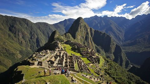 Timelapse footage of Machu Picchu in Peru. Machu Picchu is a Inca citadel situated on a mountain ridge in the Cusco Region in Sacred Valley, Peru.
