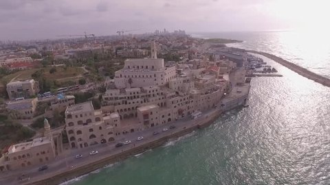 Old Jaffa city, Israel, aerial view drone footage 1080p log/flat
