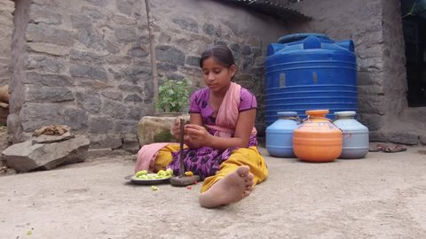 Girl is cutting bitter gourd for dinner at evening time in the rural village Salunkwadi, Ambajogai, Beed, Maharashtra, India, Southeast Asia